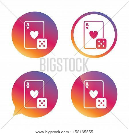 Casino sign icon. Playing card with dice symbol. Gradient buttons with flat icon. Speech bubble sign. Vector