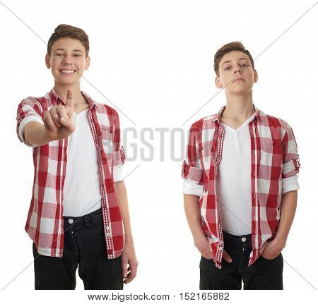 Set of cute teenager boy in red checkered shirt pushing something in front himself over white isolated background, half body