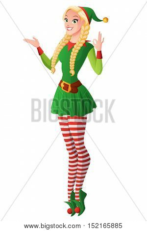 Cute girl with braids in green Christmas elf costume showing OK sign gesture. Cartoon style vector illustration isolated on white background.