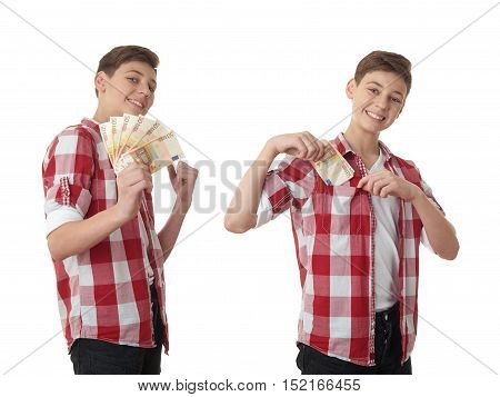 Set of cute teenager boy in red checkered shirt with money euro in hand over white isolated background, half body