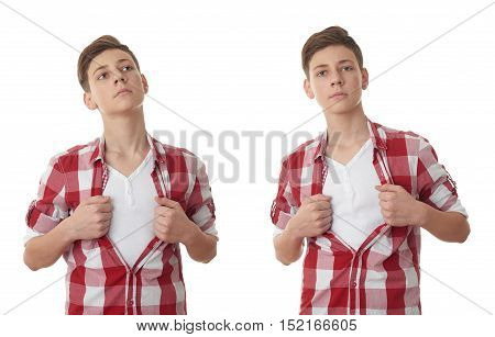 Set of cute teenager boy acting like a super hero and tearing his red checkered shirt off over white isolated background, half body