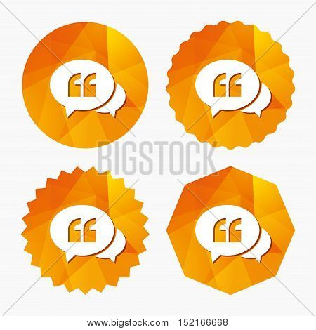Chat Quote sign icon. Quotation mark symbol. Double quotes at the beginning of words. Triangular low poly buttons with flat icon. Vector