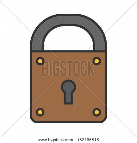 Padlock. Flat colored icon of lock isolated on white background. Object of safety, protection. Vector illustration
