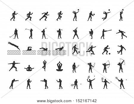Vector set of sports figures athletes. Silhouettes of sportsmen.