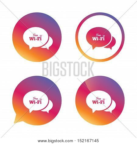 Chat speech bubbles. Free wifi sign. Wifi symbol. Wireless Network icon. Wifi zone. Gradient buttons with flat icon. Speech bubble sign. Vector