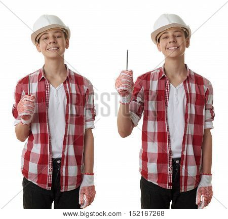 Set of cute teenager boy in red checkered shirt, building helmet and screwdriver over white isolated background, half body, constructing concept