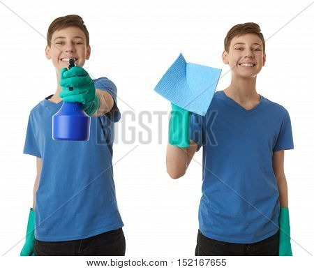 Set of cute teenager boy in blue T-shirt and green rubber gloves with spray tool over white isolated background, half body, cleaning concept