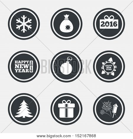Christmas, new year icons. Gift box, fireworks and snowflake signs. Santa bag, salut and decoration ball symbols. Circle flat buttons with icons and border. Vector
