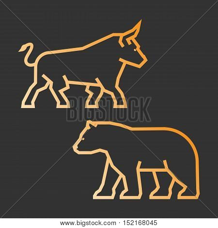 Linear concept for stock market on the rise and a fall. Vector line bull and bear.