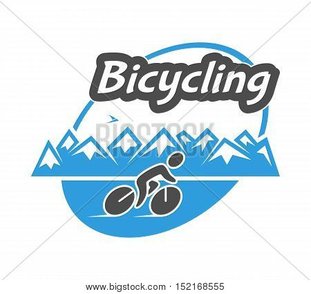 Retro vector logo for bicycling. Cool bicycle and cyclist.