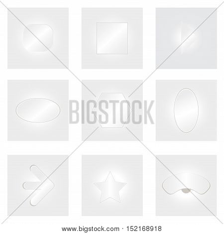 Arrow vector button icon set white color on grey background. interface line symbol for app, web and music digital illustration design. Application sign element collection.