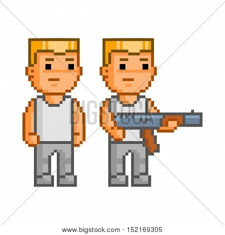 Vector pixel art armed soldier on white background