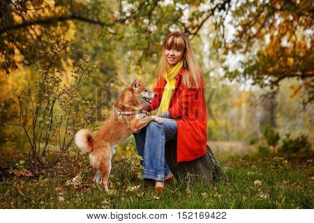 Cute girl with a Shiba Inu dog in autumn park. Pedigree dog. Riot of colors of nature. Outdoor Activities.