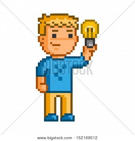 Vector pixel art geniuses and idea on white background.