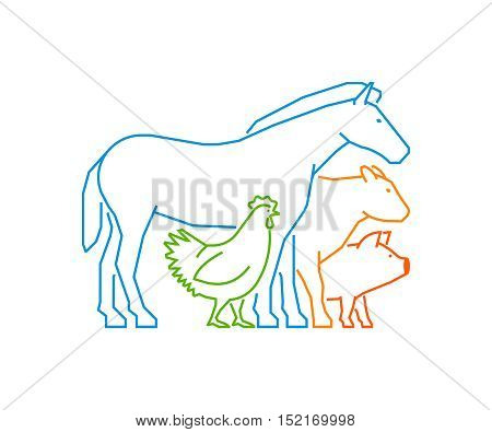 Line logo for farmers market. Linear farm animals on a white background. Farm animals symbol. Outline horse, pig, cow, chicken.