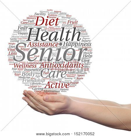 Concept or conceptual old senior health, care or elderly people abstract word cloud held in hands isolated on background