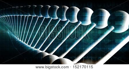 Molecules Background with DNA Genetic Helix Concept Art 3d Illustration Render