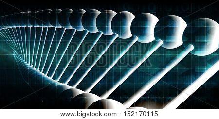 Molecules Background with DNA Genetic Helix Concept Art 3d Illustration Render