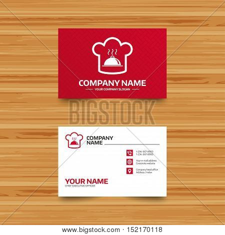 Business card template. Chef hat sign icon. Cooking symbol. Cooks hat with hot dish. Phone, globe and pointer icons. Visiting card design. Vector