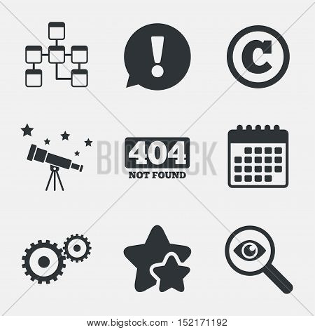 Website database icon. Copyrights and gear signs. 404 page not found symbol. Under construction. Attention, investigate and stars icons. Telescope and calendar signs. Vector