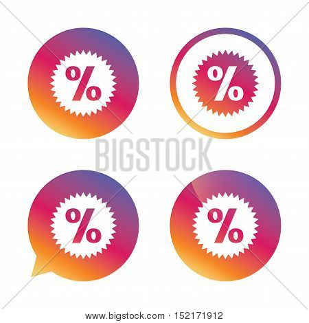 Discount percent sign icon. Star symbol. Gradient buttons with flat icon. Speech bubble sign. Vector