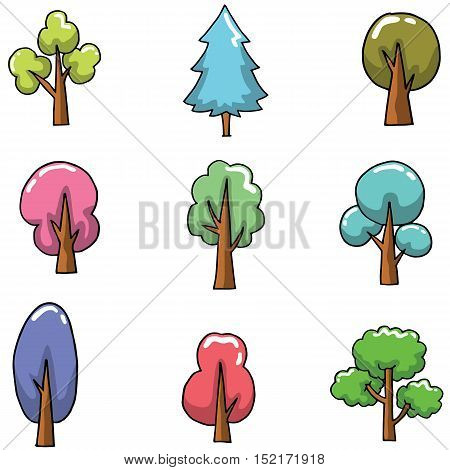Doodle of many tree set various vector art