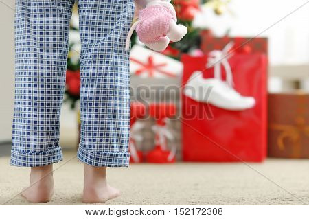 Girl In The Morning Looking For Christmas Gifts.