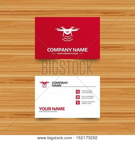 Business card template. Drone icon. Quadrocopter with remote control symbol. Phone, globe and pointer icons. Visiting card design. Vector