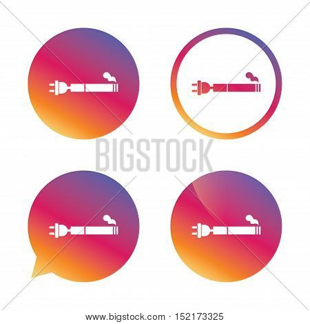 Smoking sign icon. E-Cigarette symbol. Electronic cigarette. Gradient buttons with flat icon. Speech bubble sign. Vector
