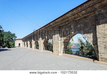 Old fortress wall in Shevchenko park Odessa Ukraine