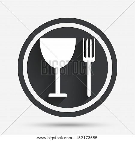 Eat sign icon. Cutlery symbol. Fork and wineglass. Circle flat button with shadow and border. Vector