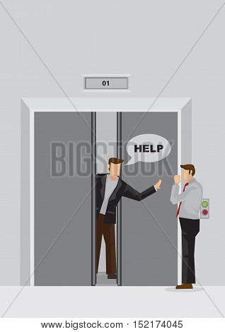 Vector illustration of cartoon man behind jammed elevator door trapped inside fit and calling out for help.