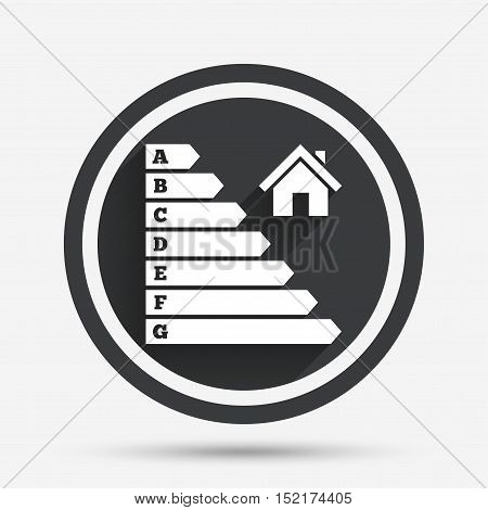 Energy efficiency icon. Electricity consumption symbol. House building sign. Circle flat button with shadow and border. Vector