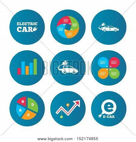 Business pie chart. Growth curve. Presentation buttons. Electric car icons. Sedan and Hatchback transport symbols. Eco fuel vehicles signs. Data analysis. Vector