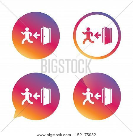 Emergency exit with human figure sign icon. Door with left arrow symbol. Fire exit. Gradient buttons with flat icon. Speech bubble sign. Vector