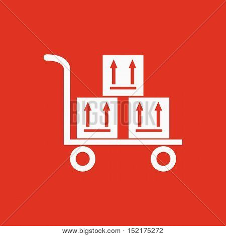 The warehouse trolley with boxes icon. Delivery and logistic, shipping, transportation symbol. Flat Vector illustration