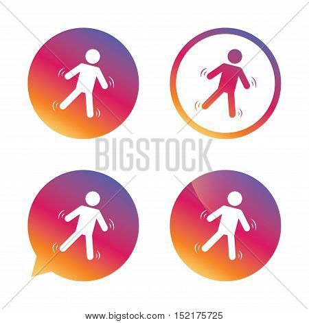 Man falls sign icon. Falling down human symbol. Caution slippery. Gradient buttons with flat icon. Speech bubble sign. Vector