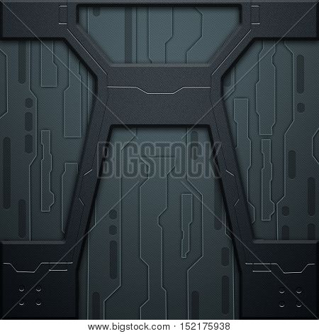 Scifi Wall. Metal Wall. Metal Background.