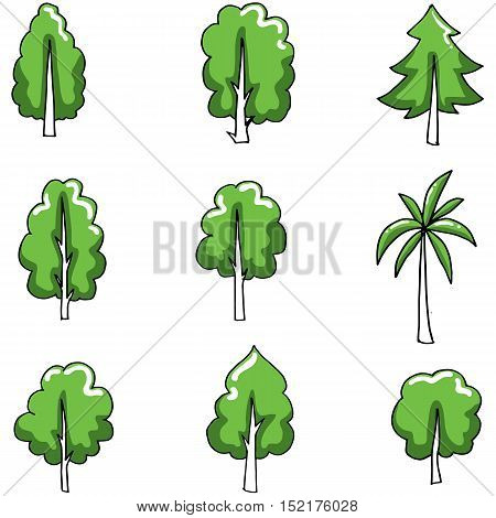 Doodle of tree set various object vector illustration