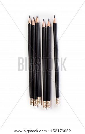 many black pencil on a white background