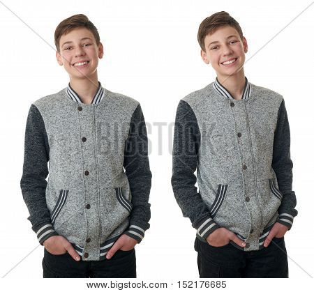 Set of cute teenager boy in gray sweater over white isolated background, half body