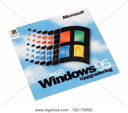 Stockholm, Sweden - December 15, 2014: Microsoft Windows 95 operating system cover for the Swedish version isolated on white background.