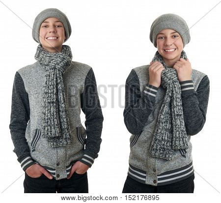 Set of cute teenager boy in gray sweater, hat and scarf over white isolated background, half body
