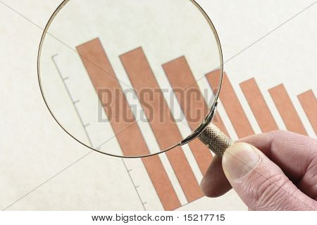 Analyzing a downward trend on a bar graph with a magnifying glass.