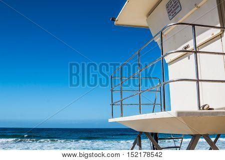 Lifeguard tower in Encinitas, California facing the Pacific Ocean
