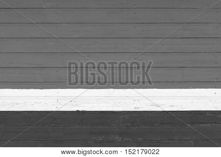 old wooden boards gray color texture and background and white strip