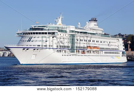 Stockholm, Sweden - April 22, 2014: The cruise ship M / S Birka in service for Birka Line departing Stockholm bound for Mariehamn.