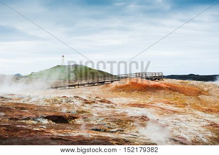 Gunnuhver geothermal area on Reykjanes peninsula in Iceland