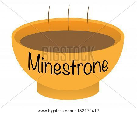 A Minestrone soup bowl over a white background