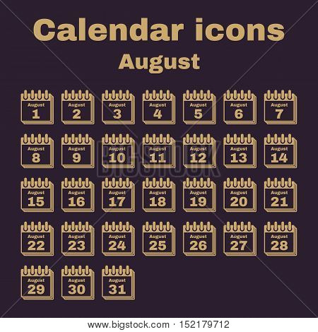 The calendar icon.  August symbol. Flat Vector illustration. Set